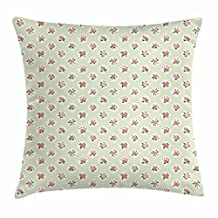 Shabby Chic Throw Pillow Cushion Cover, Cottage Chic Style with Rose Blooms on Green Polka Dotted Backdrop, Decorative Square Accent Pillow Case, 18 X 18 Inches, Pale Green Coral White