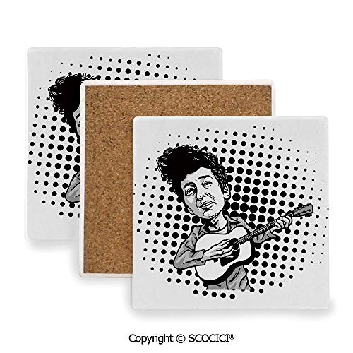 (Ceramic Coaster With Cork Mat on the back side, Tabletop Protection for Any Table Type, Square coaster,Bob Dylan Decor,Pop Art Cartoon Style Musician Playing,3.9