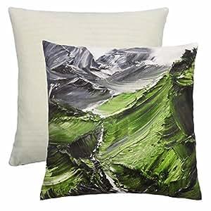 "Relleno Moderno Mount Everest artística verde crema gris blanco cojín 18""–45cm"