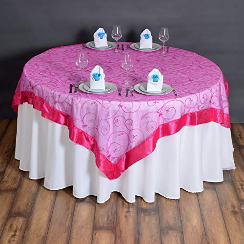 Mikash Embroidered Organza Table Overlays Wedding Catering Event Dinner Decorations | Model WDDNGDCRTN - 6443 | 15 pcs / 7272 -