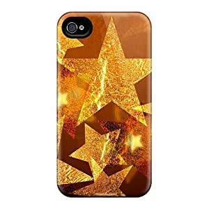 linJUN FENGXPwDXpo7667uhfNf Case Cover Protector For Iphone 4/4s Christmas Gold Stars Case