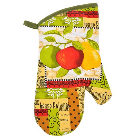 Kitchen Decor - Towel Linen Set of 6 Pieces Fruit Themed Design - Kitchen Towel 2 Potholders 2 Scrubber Dishcloths 1 Oven Mitt - Linen Apple Pear Set - Oven Mitts by TopNotch Outlet (Image #3)