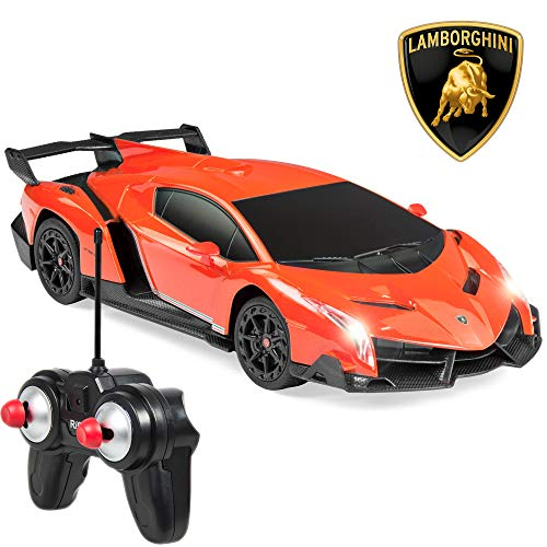 Best Choice Products 1/24 Officially Licensed RC Lamborghini Veneno Sport Racing Car W/ 27MHz Remote Controller- Orange
