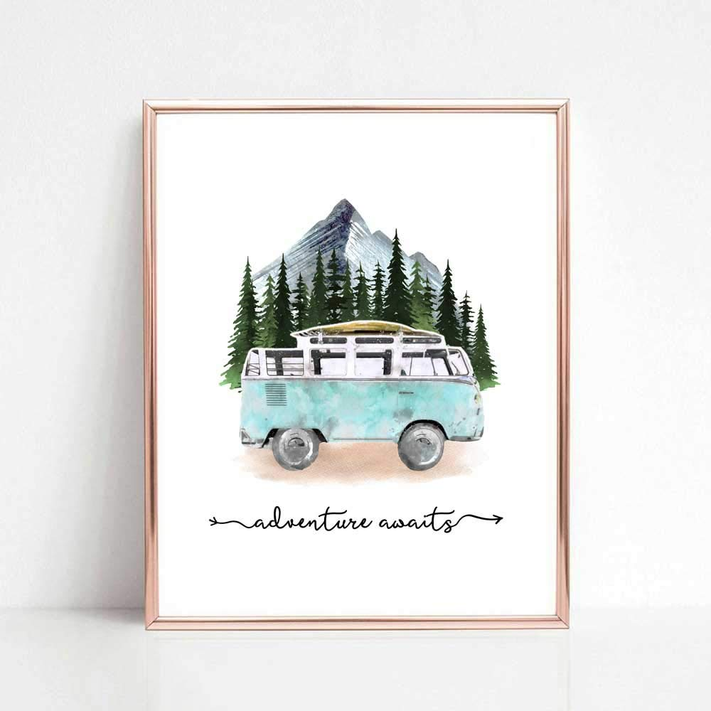 Adventure Awaits Art Print Travel Poster Mountain Wall Decor Blue Tour Bus Painting Wanderlust Gift for Traveler 8x10 inch No Frame