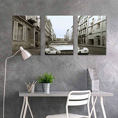 BDDLS Canvas Pictures Sticker Murals,Car on Streets of Havana Easy Care Oil Painting 3 Panels,24x47inchx3pcs