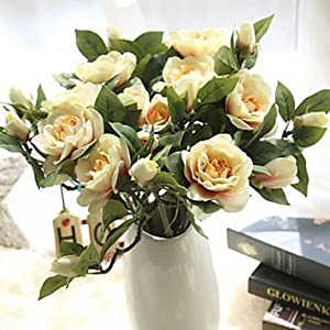 DY2DY Gardenia Camellia Simulation Flower Artificial Flowers Wedding Home Decoration 5 Branch, green 107