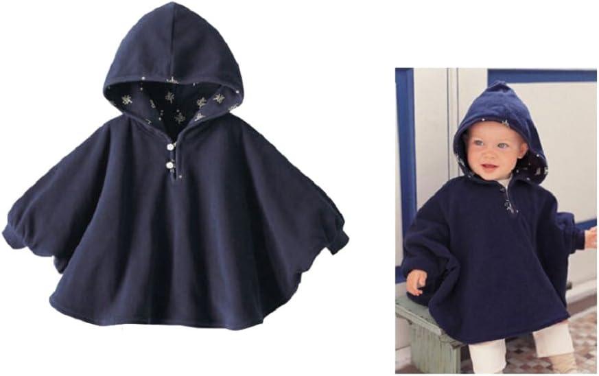 indumento-cappotto per neonato Bleu Clair 75 0-9mois TININNA Poncio con cappuccio in peluche