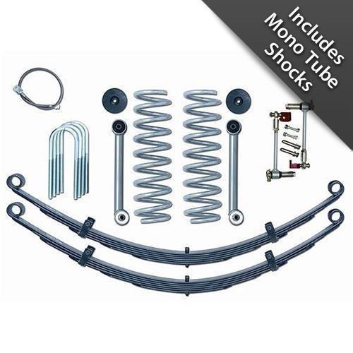 Rubicon Express RE6030M Super-Flex Suspension Lift Kit w/Shocks 3.5 in. Lift Incl. GEN II Disconnects/Coil Spgs/Bmp Stp/Rr Leaf Spgs/Rr Brk Line/UBolts/Cntrl Arm/MonoTube Shocks Super-Flex Suspension Lift Kit - Line Cntrl