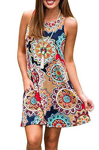 Women's Summer Casual Tank Dress Sleeveless Floral Swing T-Shirt Loose Sundress with Pockets (Navy Dress#6110, XX-Large)
