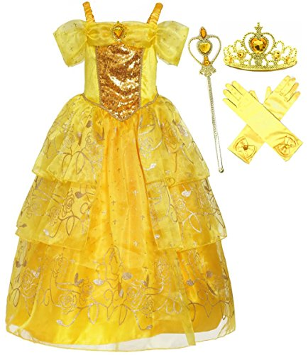 Belle Gown Costume (Romy's Collection Girls Deluxe Yellow Belle Dress up Gown Costume w/accessories (4-5))
