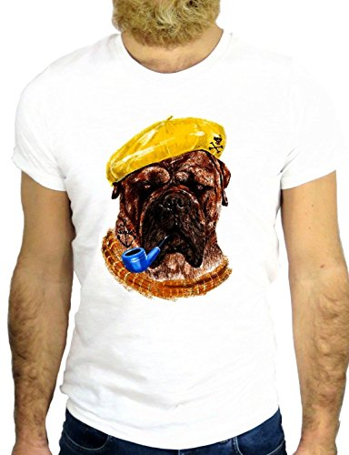 T SHIRT Z0404 DOG SMOKING HAT SUNGLASSES ANIMAL CARTOON NICE FUNNY COOL PIPE GGG24 BIANCA - WHITE S