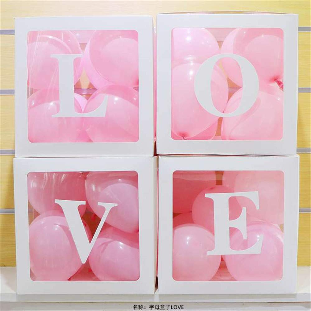L,O,V,E Pink comboo Scatola da 4 Palloncini Palloncino Quadrato Bianco Trasparente Box Doccia A Tema Forniture per Feste Decorazione//Compleanno//Baby Shower Love/_Balloon/_Box