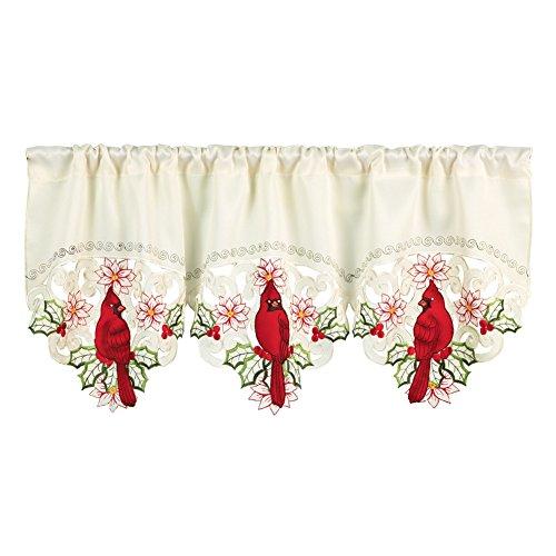Christmas Embroidered Cardinal Rod Pocket Window Valance