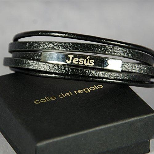 33858279260d Regalo para hombres personalizable  pulsera de acero y piel grabada con su  nombre o el texto que tú quieras  Amazon.es  Joyería