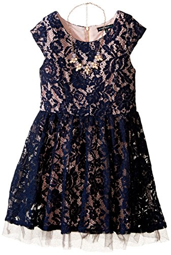 My Michelle Girls' Big Cap Sleeve Lace Dress with Blush Lining and Necklace, Navy, 12