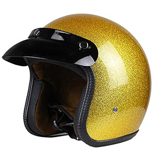 (Men Women Jet Vintage Open Face 3/4 Motorcycle Helmet ,Glitter Cover for Motocross Gold M)