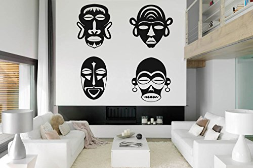 Tribal Masks For Kids (Wall Decal Sticker African Warrior Face Mask Tribal Girl Tattoo Home Decor 68t)