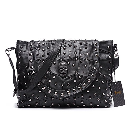 Jonon Women's Genuine Leather Sheepskin Studded Skull Shoulder Bag Handbag Crossbody -