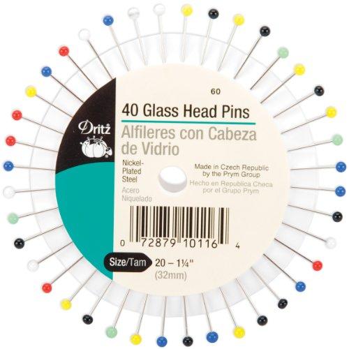 - Dritz 60 Glass Head Pins, 1-1/4-Inch (40-Count)