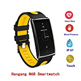 Waterproof Smart Watch,Hangang Sport Smartwatch 0.96-Inch Screen IP67 Waterproof Fitness Tracker Bluetooth Smartwatch Health Heart Rater Blood Pressure Monitor for Android4.4 and IOS 8.0-N68 - Yellow