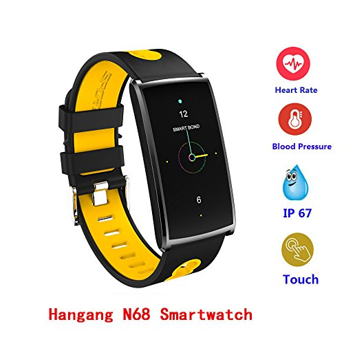 Waterproof Smart Watch,Hangang Sport Smartwatch 0.96-Inch Screen IP67 Waterproof Fitness Tracker Bluetooth Smartwatch Health Heart Rater Blood Pressure Monitor for Android4.4 and IOS 8.0-N68 - Yellow by HANGANG
