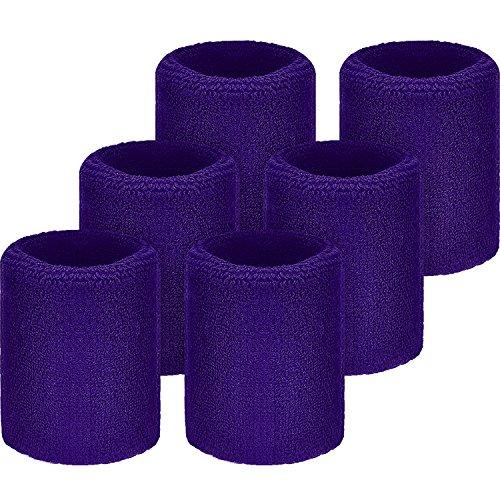 WILLBOND Sweatbands Wristbands for Football Basketball, Running Athletic Sports, Purple, 6 -