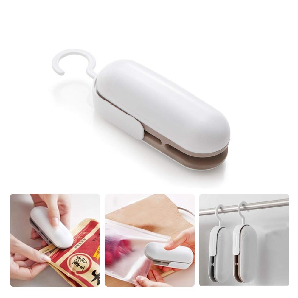 Mini Bag Sealer, plastic bag sealer,Handheld Heat Vacuum Sealers,2 in 1 Heat Sealer and Cutter Handheld Portable Bag Resealer Sealer, Food Storage Snack Fresh Bag Sealer (Brown)