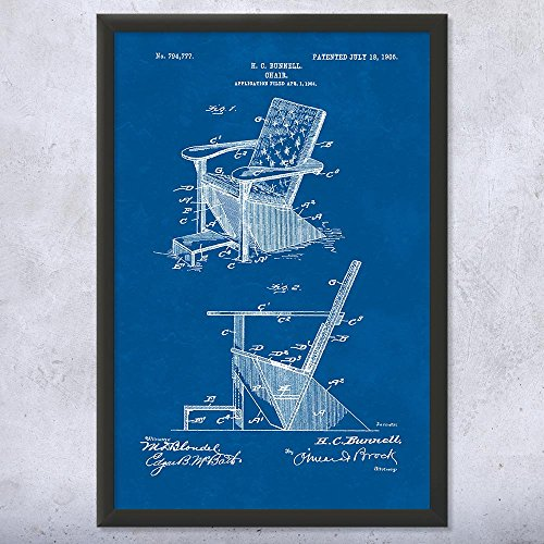 Framed Adirondack Chair Print, Plank Wood, Furniture Maker, Outdoor Seating, Retro Furniture, Wood Working Blueprint (9