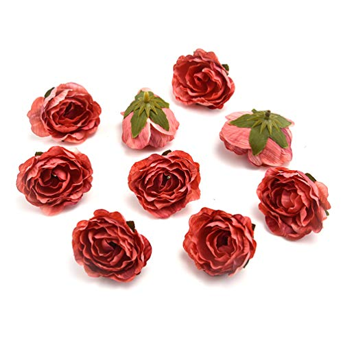 Fake flower heads in bulk wholesale for Crafts Peony Flower Head Silk Rose DIY Scrapbooking Decorative Flower Heads Decor for Home Garden Wedding Birthday Party Decoration Supplies 30PCS 4cm (red) from Fake flower heads in bulk wholesale
