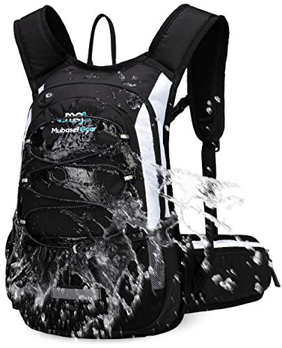 Mubasel Gear Insulated Hydration Backpack Pack with 2L BPA Free Bladder - Keeps Liquid Cool up to 4 Hours - for Running, Hiking, Cycling, Camping (Black White)