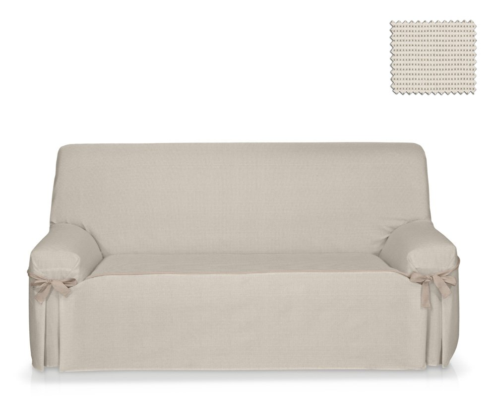 JM Textil Sofa-Husse mit mit mit Schleifen Nikawe Größe 3 Sitzer (von 180cm bis 220cm), Einzelfarbe 5f3662