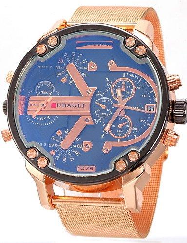 Doble huso horario Militar reloj de pulsera banda de acero de oro de anuncios de cuarzo de los hombres, Light Blue: Amazon.es: Relojes
