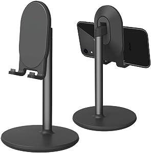 Phone Stand for Desk, Cell Phone Stand Adjustable Desk Phone Holder Tablet Holder Phone Dock (Black)