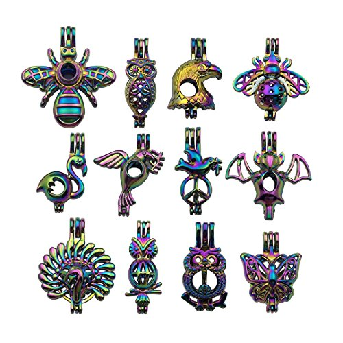 - 10 PCS Mixed Rainbow Color Cage Pendant for Pearl Collection - Honey Bee Owl Eagle Swan Koni Pigeon Bat Peacock Butterfly Locket Perfume Essential Oil Diffuser Charms (HM210)