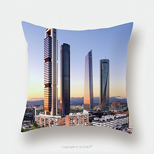 Custom Satin Pillowcase Protector Madrid Spain Financial District Skyline At Dusk 226711669 Pillow Case Covers Decorative by chaoran