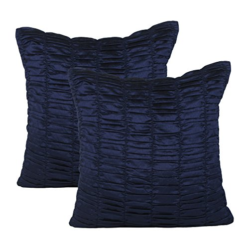 (The White Petals Set of 2 Pillow Navy Blue, Ruched, Textured (Solid Dark Blue, 20x20 inches))