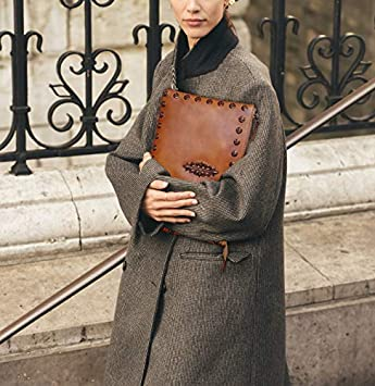 LETEULO Womens Medium Wristlet Umh/ängetasche Clutch Handtaschen Geldb/örse(Braun)