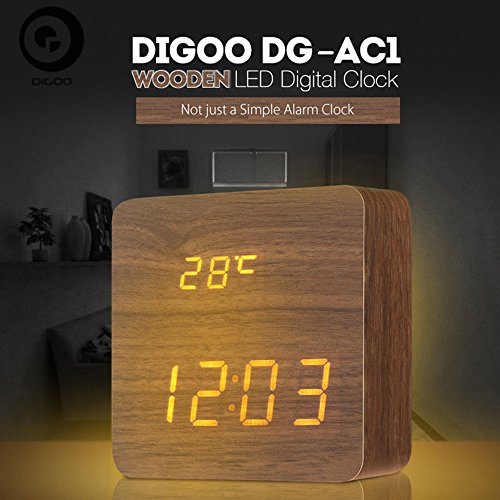 Digoo DG-AC1 Wooden LED Digital Alarm Clock Multifunctional 2 Mode Display Time Voice Control Desk Clock Brown by scoutBAR