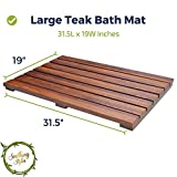 """Luxury Teak Bath Mat Large Size with Non Slip Feet & Natural Mildew Resistance for a Hotel Bathmat Inside the Shower or on the Bathroom Floor! [31.5"""" x 19""""]"""