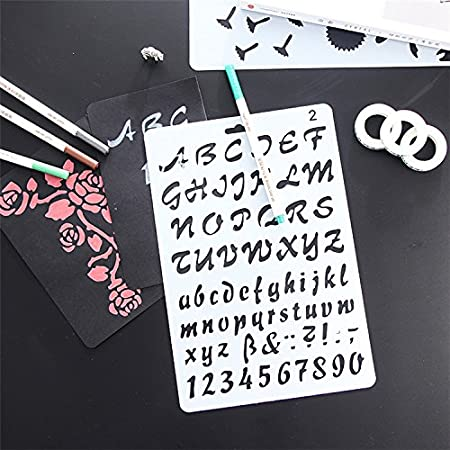 letterring02 Flexible Plastic Size 10.2 by 6.7 Inch Amupper Letter Stencil Guide for Kids