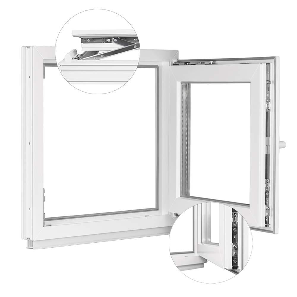 Premium Fenster Kellerfenster Kunststofffenster Breite: 90 cm 2 fach Verglasung Alle Gr/ö/ßen Dreh Kipp Wei/ß BxH: 90x90 cm DIN Links