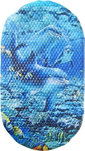 (Papillon 69 x 39 cm Safety Bath Dolphins Mat, Blue)