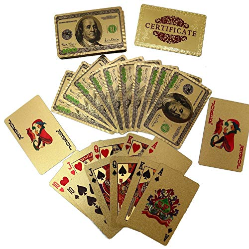 24K Gold Plated Poker Playing Cards - Waterproof $100 Benjamin Franklln Design from Julias Boutique