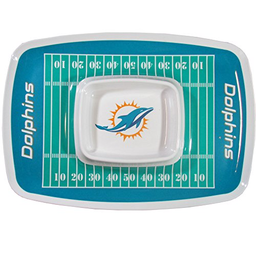 NFL Miami Dolphins Chip & Dip Traychip & Dip Tray, Teal, One Size