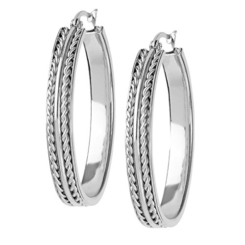 Oval Twisted Rope - Women's Stainless Steel Oval Twisted Rope Hoop Earrings