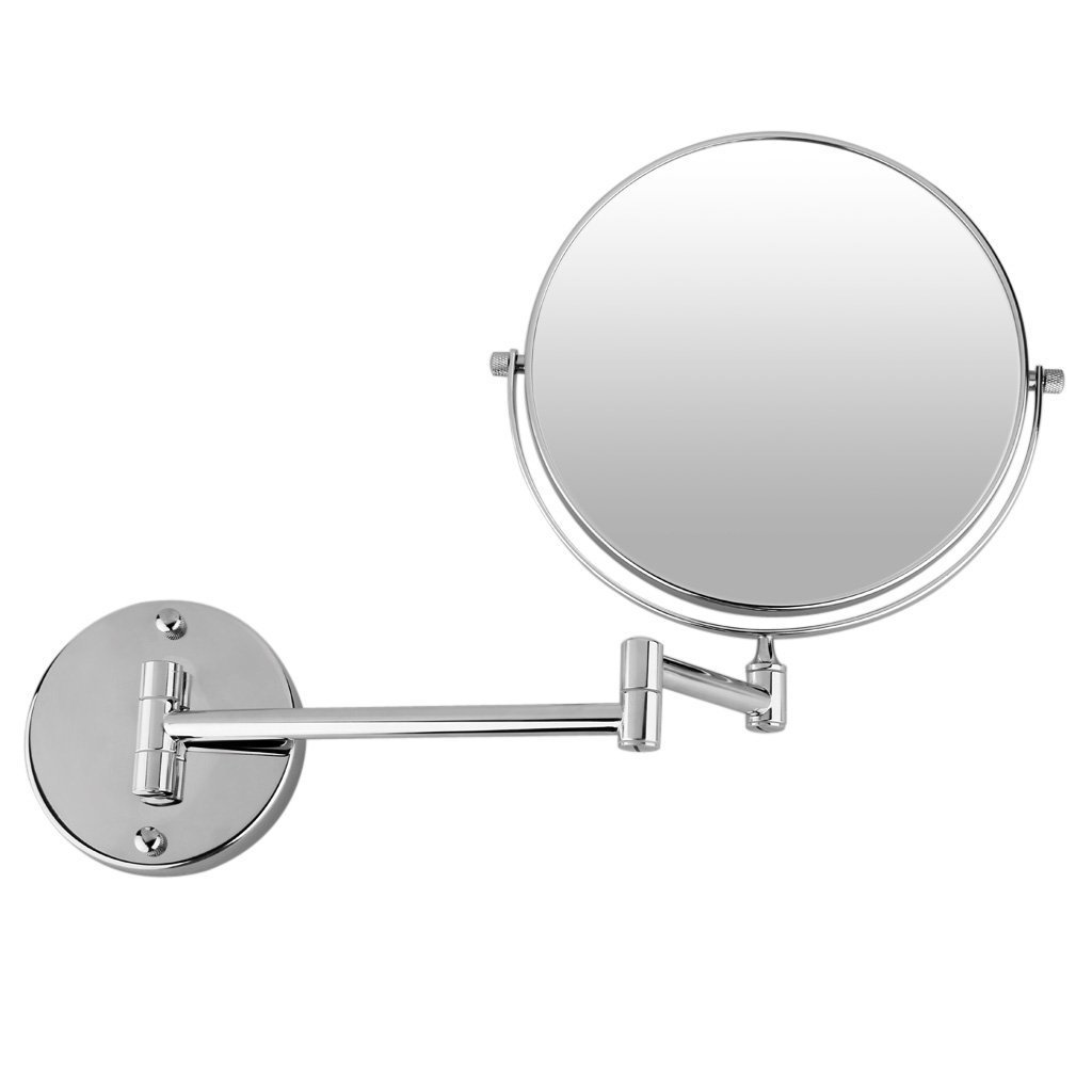 GuRun Shaving Mirror 8 Inch Two Sided Makeup Mirrors Dual Arm Wall Mount Mirror With 7X Magnification Chrome Finish M1309(8In,7X)