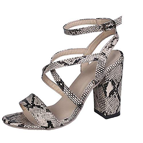 Womens Block Snake Skin High Heel Sandals Ankle Ankle Strap Crisscross Strap Chunky Open Toe Pumps Dress Party Shoes (8.5 M US, A- Snake Gold)