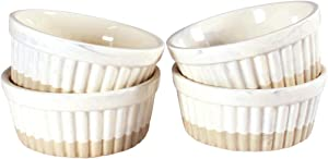 8oz Oven Safe Ramekins by CIROA | Set of 4 Marbled Bowls for Baking, Snacks, Dips and Condiments