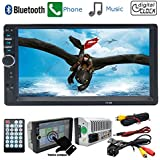 CACA Car Stereo Receiver with 7 Inch Digital Touch Screen,Double Din Bluetooth In-Dash,FM/USB/SD,Wireless Remote Control