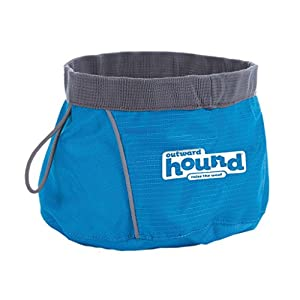 Outward Hound Port A Bowl Collapsible Hiking and Travel Folding Dog Food and Water Bowl, Large